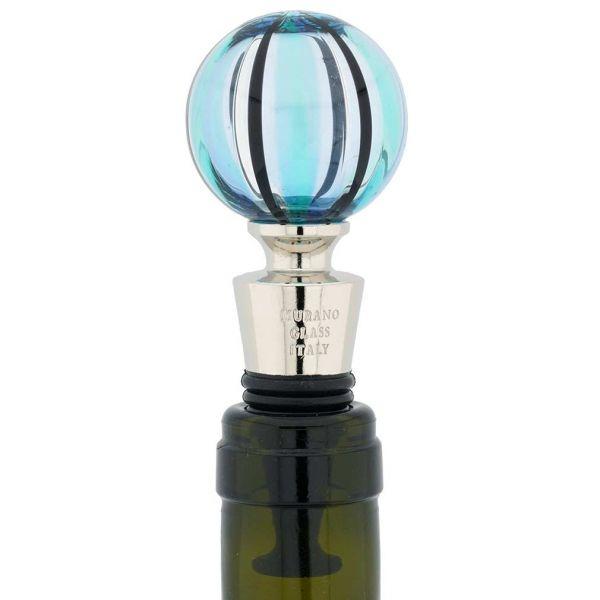 Murano Glass Bottle Stopper - Aqua Swirls