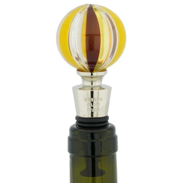 Murano Glass Bottle Stopper - Sunny Stripes