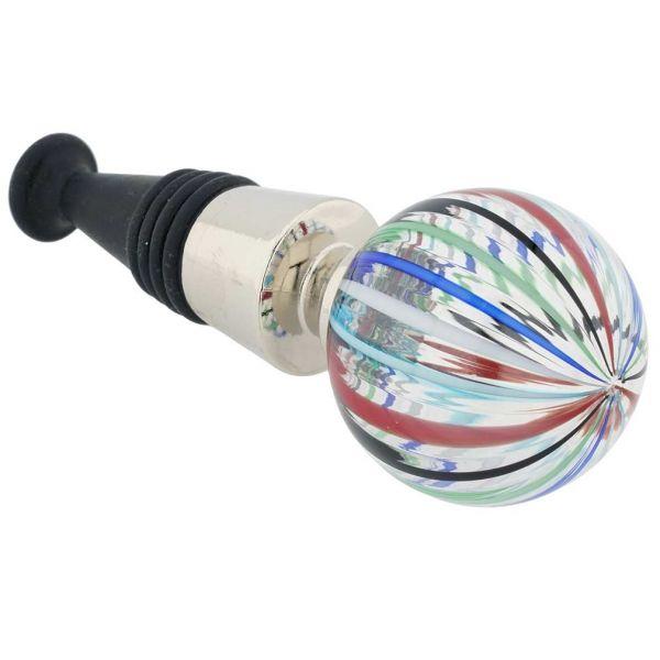 Murano Glass Bottle Stopper - Blue Stripes
