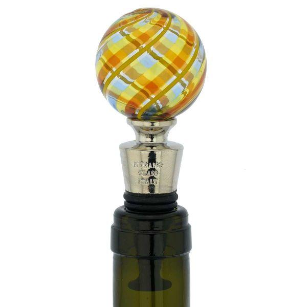 Murano Glass Bottle Stopper - Elegant Stripes
