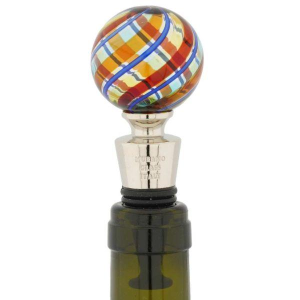 Murano Glass Bottle Stopper - Orange