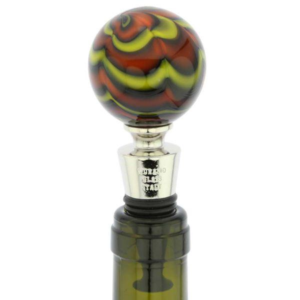 Murano Ball Bottle Stopper - Marble Swirl