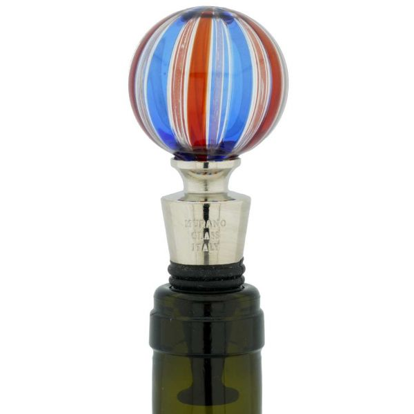 Murano Glass Bottle Stopper - Blue Swirls