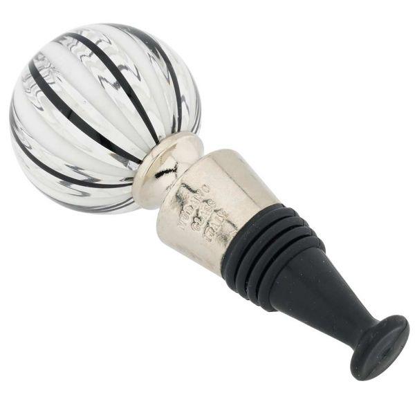 Murano Glass Bottle Stopper - Black Filigrana