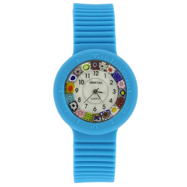 Murano Millefiori Watch with Rubber Band - Aqua Blue