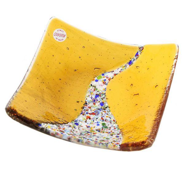 Murano Klimt Square Decorative Plate - Golden Brown