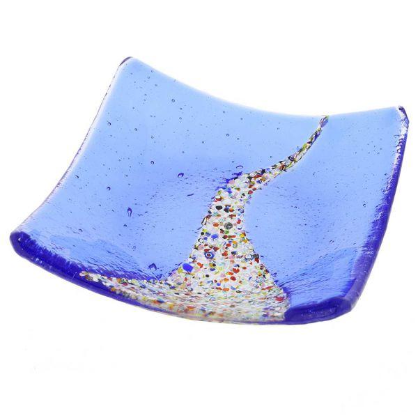 Murano Klimt Square Decorative Plate - Blue