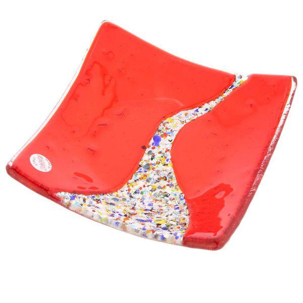 Murano Klimt Square Decorative Plate - Red