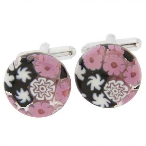 Venetian Glass Millefiori Cufflinks - Pink