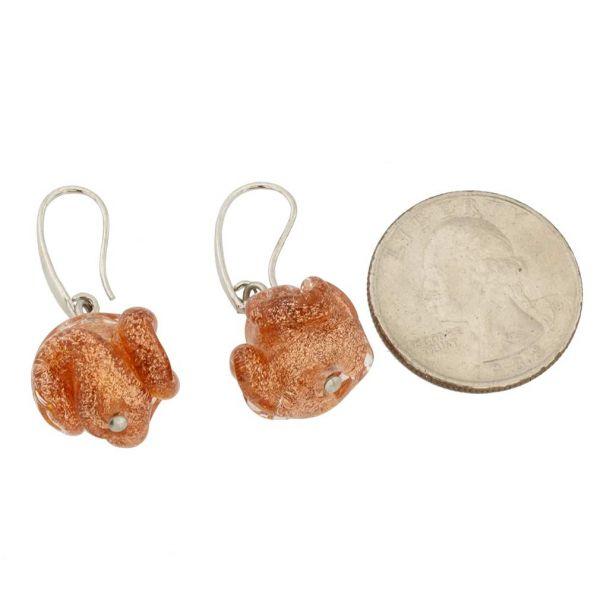 Murano Rose Flower Earrings - Golden Brown