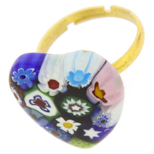 Murano Millefiori Heart Ring - Multicolor