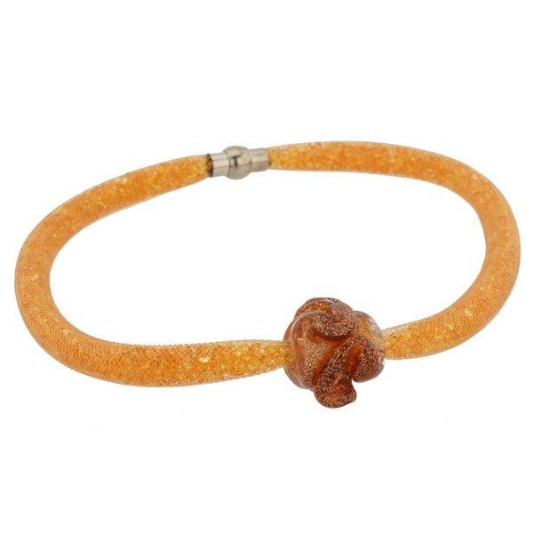 Murano Rose Flower Necklace - Golden Brown