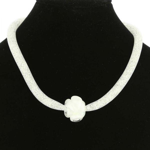 Murano Rose Flower Necklace - White