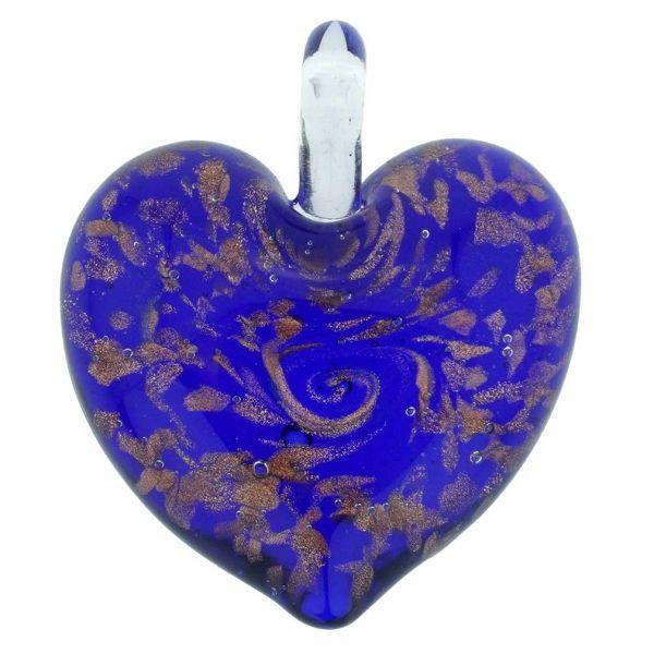 Tender Heart Pendant- Blue Swirl
