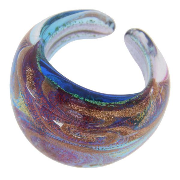 Murano Ring In Domed Design - Sparkling Aqua