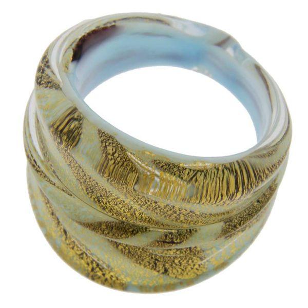 Murano Swirls Ring - Gold Aqua Blue