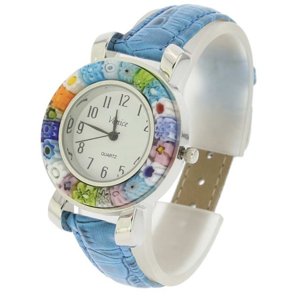 Serena Murano Millefiori Watch With Leather Band - Light Blue