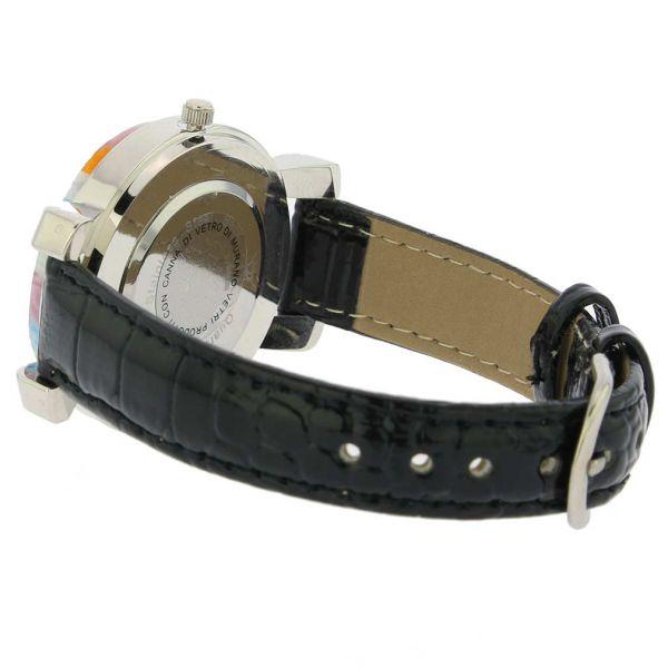 Serena Murano Millefiori Watch With Leather Band - Black