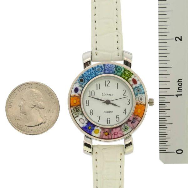 Serena Murano Millefiori Watch With Leather Band - White