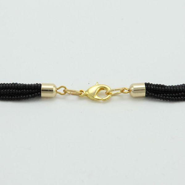 Six Strand Seed Bead Necklace - Midnight Black