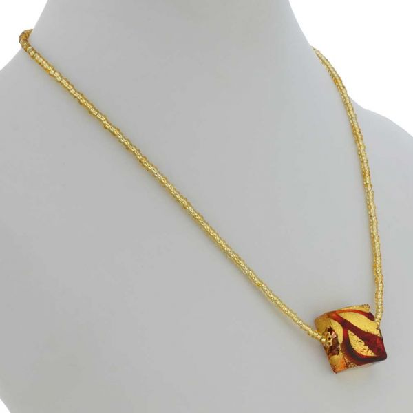 Royal Red Square Necklace - 1 Bead