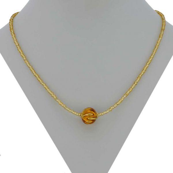 Royal Cognac Ball Necklace