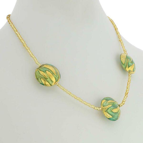 Royal Aquamarine Circles Necklace