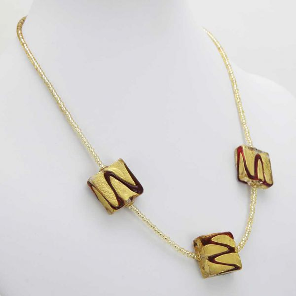 Royal Red Squares Necklace