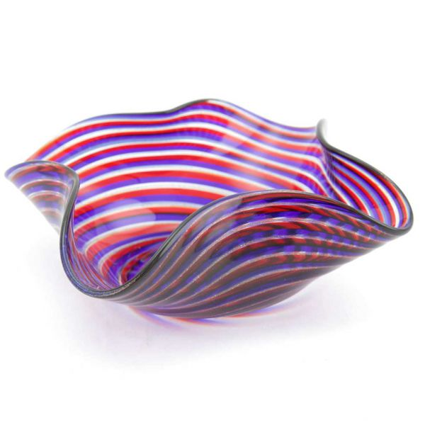 Murano Glass Filigrana Blue and Red Accent Plate