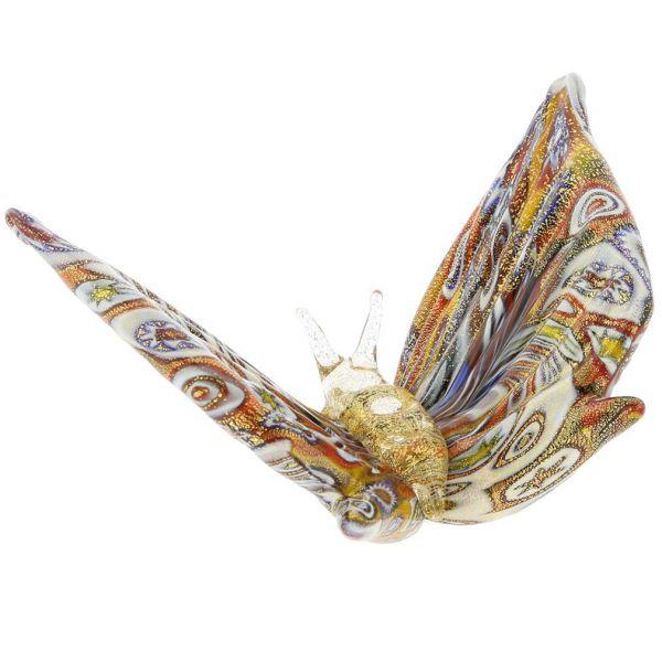 Golden Quilt Millefiori Murano Glass Butterfly