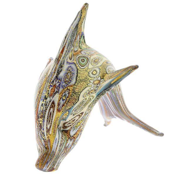 Golden Quilt Millefiori Murano Dolphin