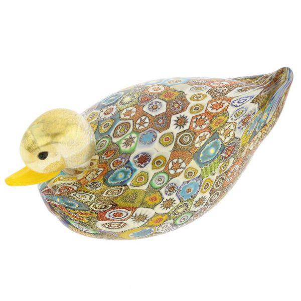 Golden Quilt Millefiori Murano Duck - Medium