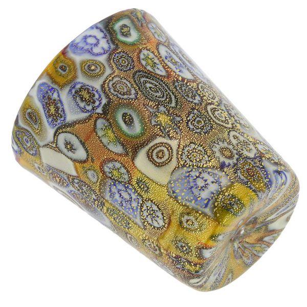 Murano Millefiori Shot Glass - Gold Multicolor