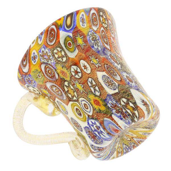 Golden Quilt Murano Millefiori Cup and Saucer