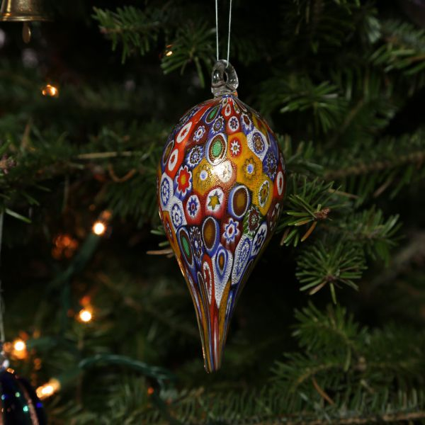 Murano Glass Icicle Christmas Ornament - Gold Millefiori