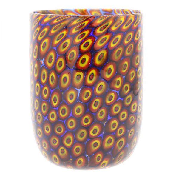 Murano Tumbler - Mosaic Red and Yellow