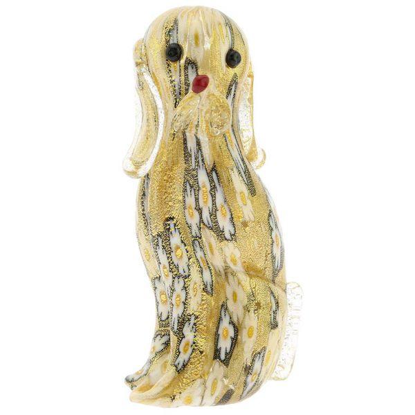 Golden Quilt Millefiori Murano Dog