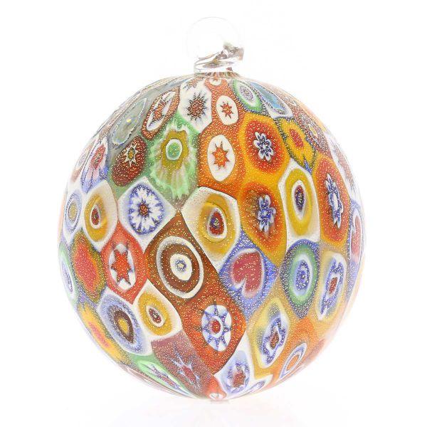 Murano Glass Christmas Ornament - Gold Millefiori