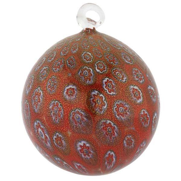 Murano Glass Christmas Ornament - Red Millefiori