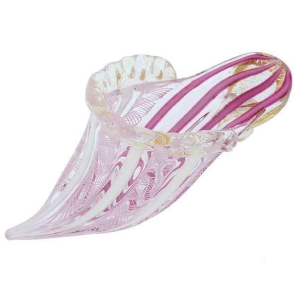 Reticello Murano Glass Slipper - Tender Pink