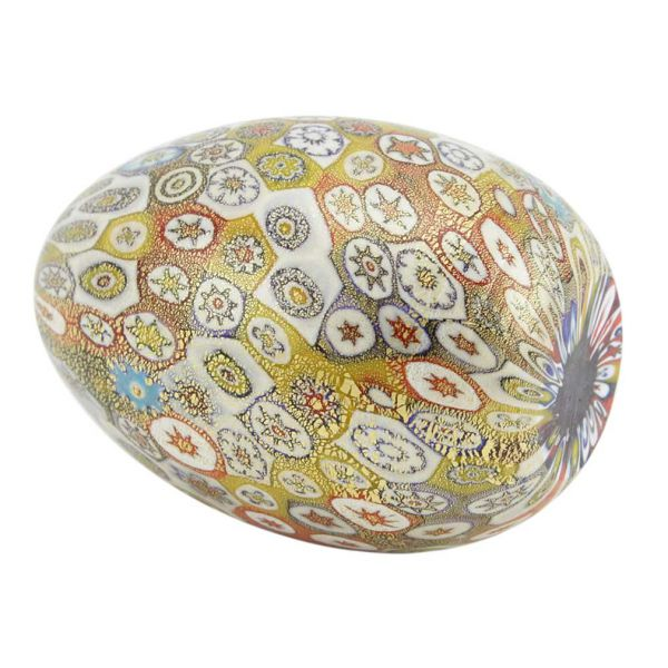 Golden Quilt Millefiori Murano Egg - Multicolor