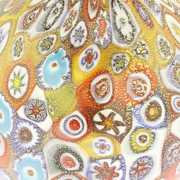 Golden Quilt Millefiori Small Vase With Handles