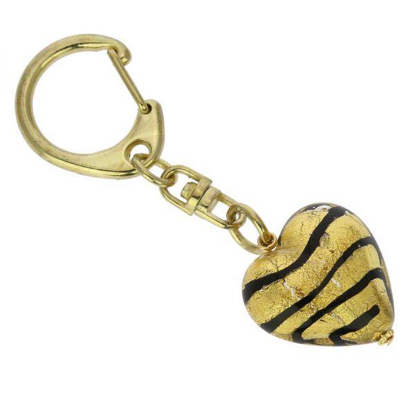 Murano Heart Keychain - Striped Gold
