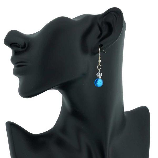 Beatrice Murano Glass Dangle Earrings - Blue