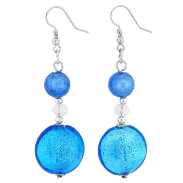 Beatrice Murano Glass Long Dangle Earrings - Blue