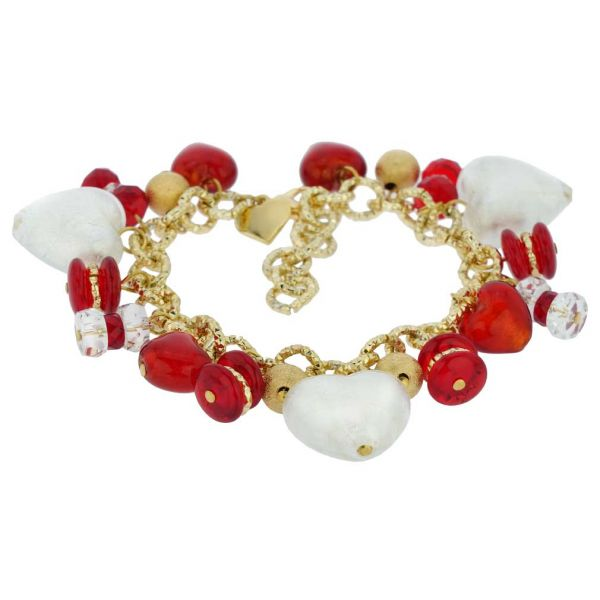 Donatella Murano Glass Hearts Charm Bracelet - Red