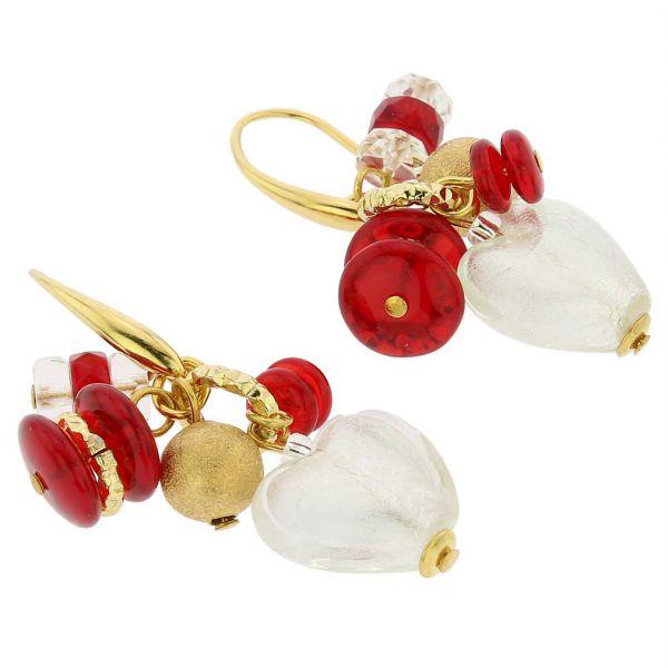 Donatella Murano Glass Heart Charm Earrings - Red