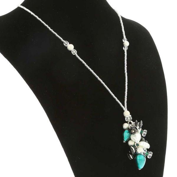 Donatella Murano Glass Heart Charms Necklace - Aqua