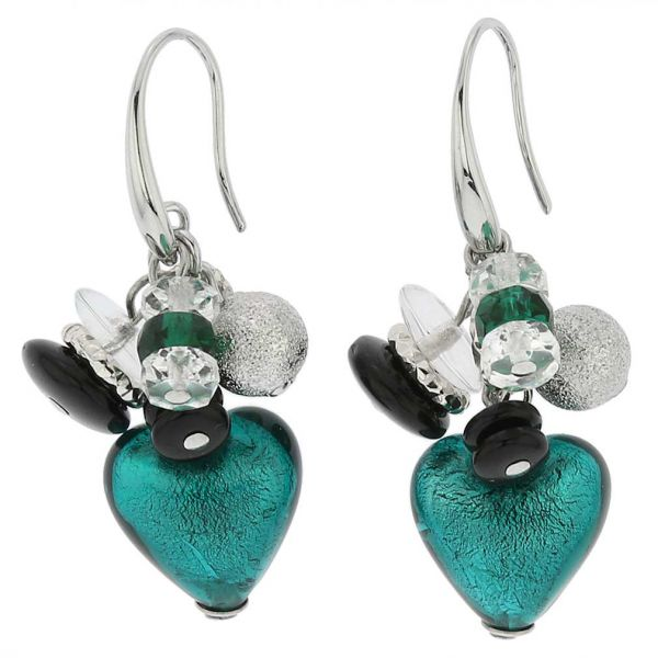 Donatella Murano Glass Heart Charm Earrings - Aqua