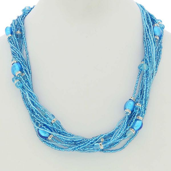 Alessia Murano Glass Necklace - Aqua Blue